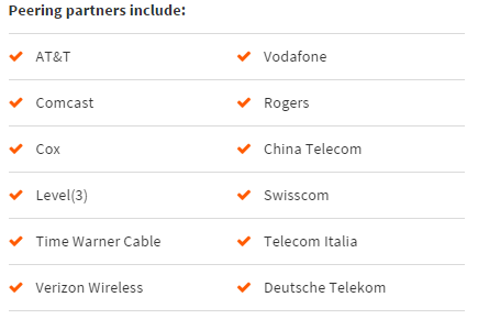 Global Peering partners include: AT&T Vodafone Comcast Rogers Cox China Telecom Level(3) Swisscom Time Warner Cable Telecom Italia Verizon Wireless Deutsche Telekom