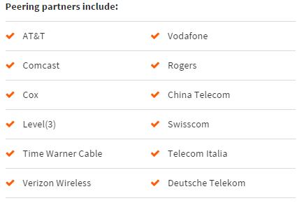 Global Peering partners include: AT&T Vodafone Comcast Rogers Cox China Telecom Level(3) Swisscom Time Warner Cable Telecom Italia Verizon Wireless Deutsche Telekom